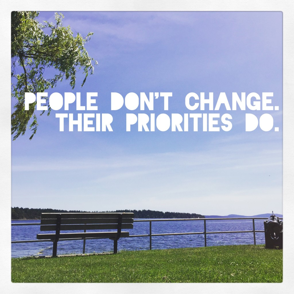 people don't change their priorities do