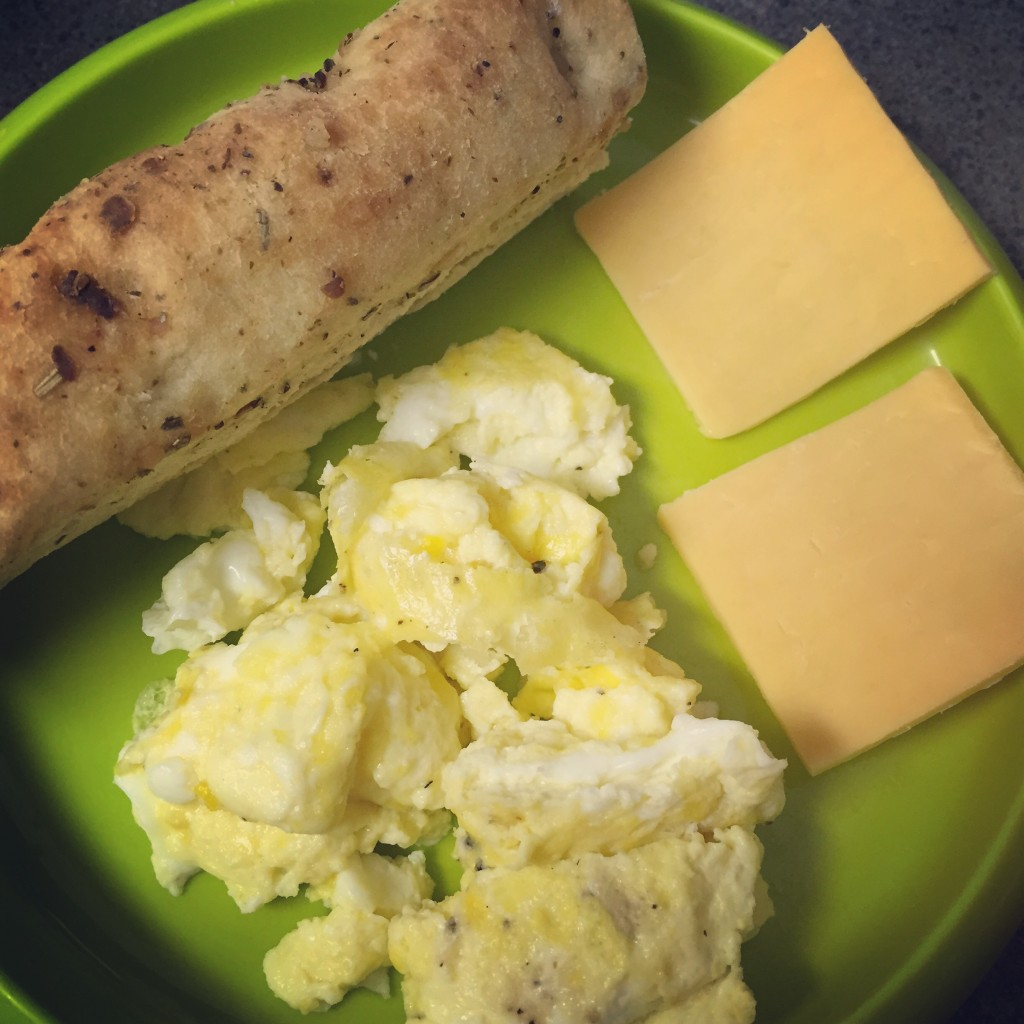 Toddler Breakfast: Eggs, Cheese & Focaccia